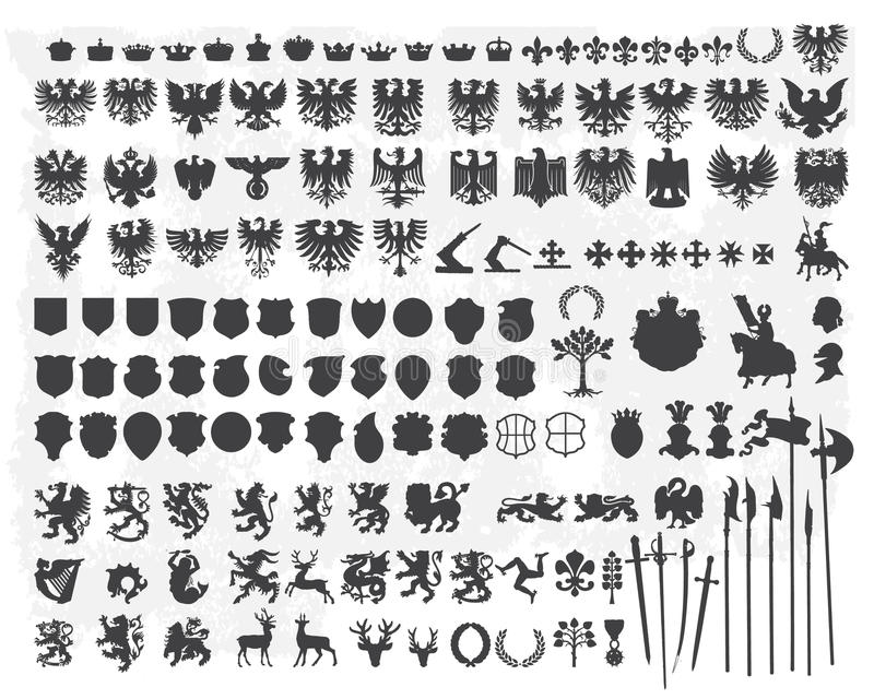Siluette degli elementi araldici di disegno illustrazione di stock