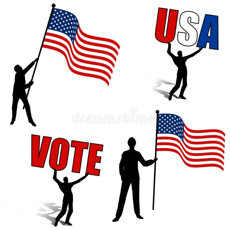 Siluette degli S.U.A. di voto delle bandiere americane illustrazione vettoriale