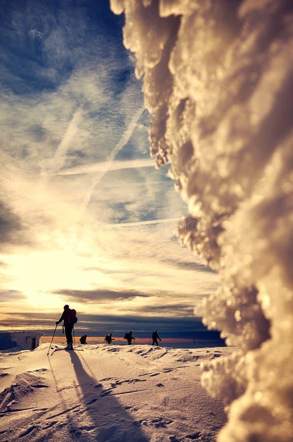Siluette degli sciatori che attraversano il pæse nella distanza al tramonto immagine stock libera da diritti