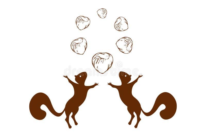 Siluette degli scoiattoli e cerchio di salto delle nocciole sulla cima Un logo di due scoiattoli con sei matto nel colore marrone royalty illustrazione gratis