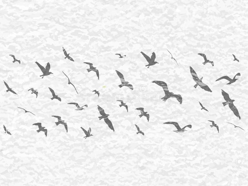 Siluette degli uccelli di volo sul fondo bianco di lerciume royalty illustrazione gratis