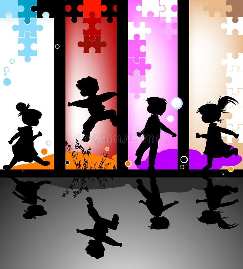 Siluette dei bambini royalty illustrazione gratis