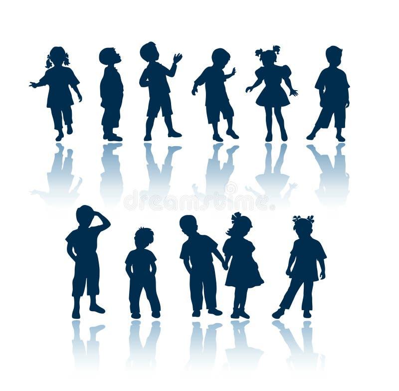 Siluette dei bambini illustrazione di stock