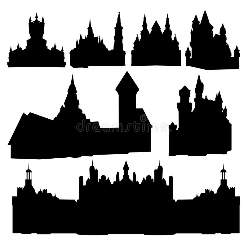 Siluette dei castelli illustrazione di stock