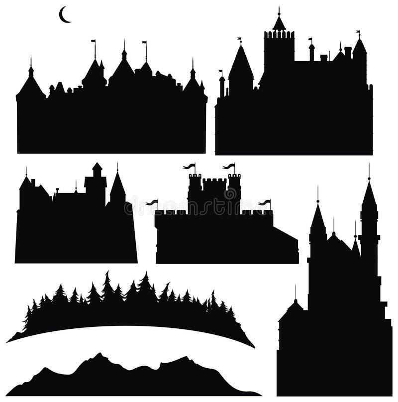 Siluette dei castelli e degli elementi per il disegno royalty illustrazione gratis