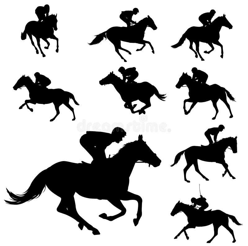 Siluette 2 dei cavalli e delle pulegge tendirici di corsa illustrazione vettoriale