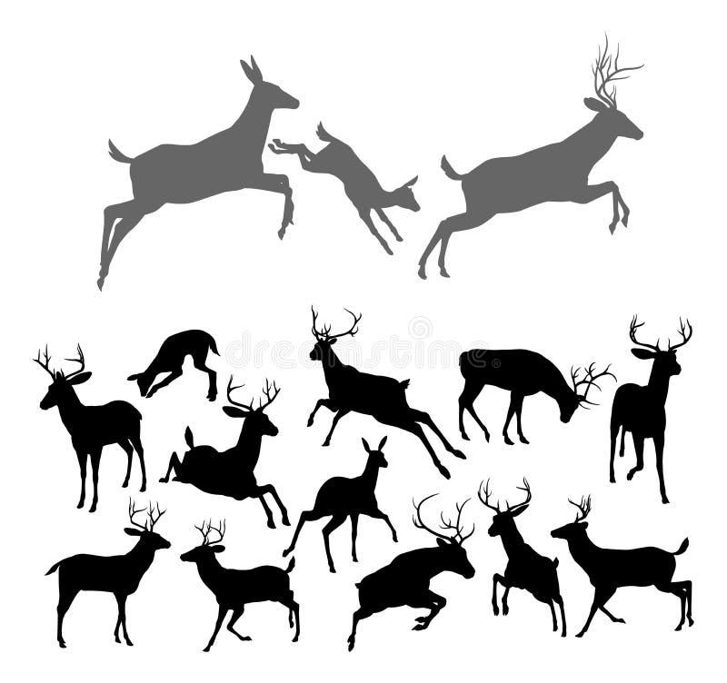 Siluette dei cervi illustrazione di stock