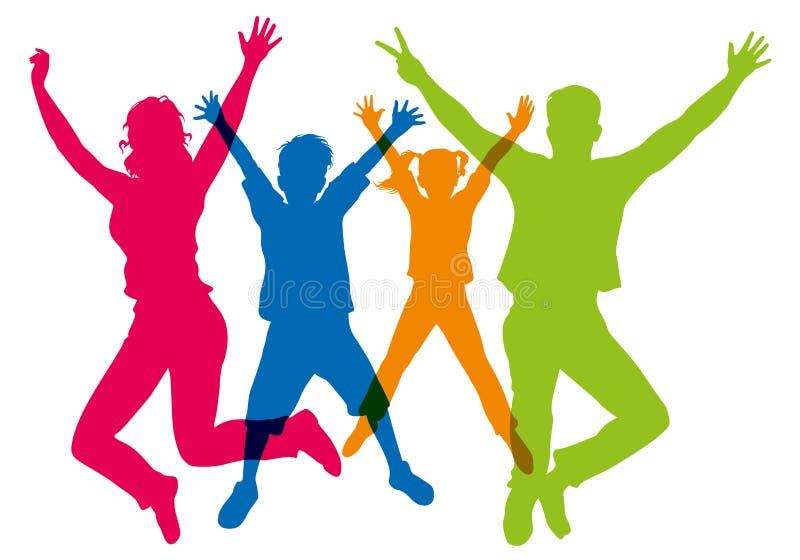 Siluette dei colori differenti, mostranti una famiglia che salta nell'aria con energia illustrazione vettoriale