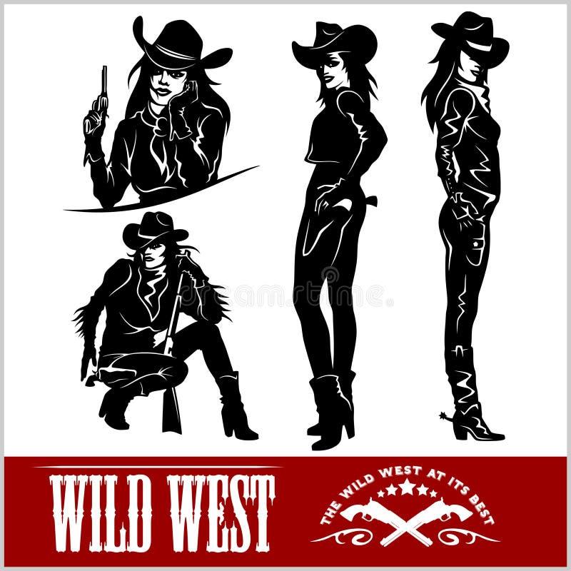 Siluette dei cowgirl occidentali Illustrazione di vettore illustrazione vettoriale