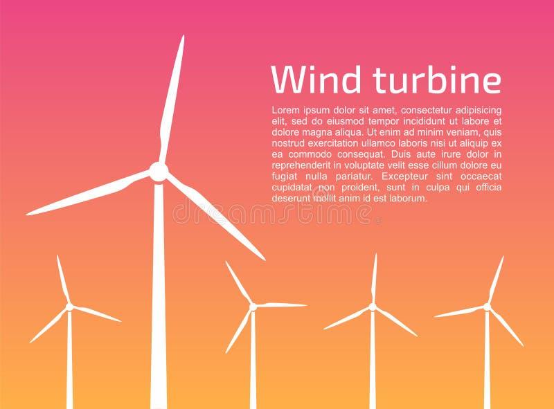 Siluette dei generatori eolici illustrazione di stock