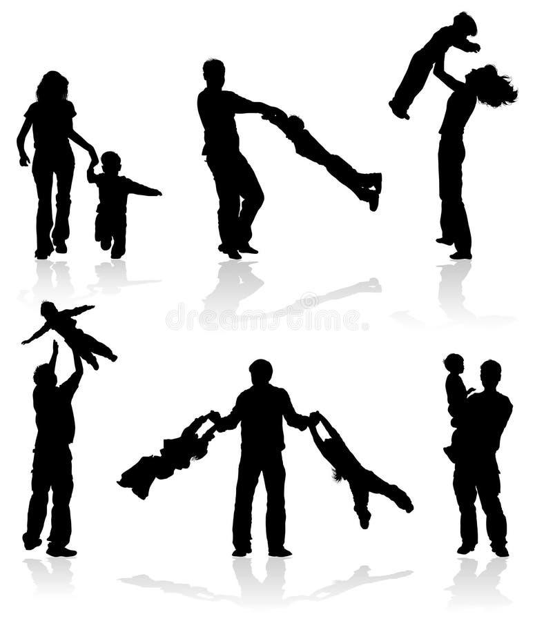 Siluette dei genitori con i bambini royalty illustrazione gratis