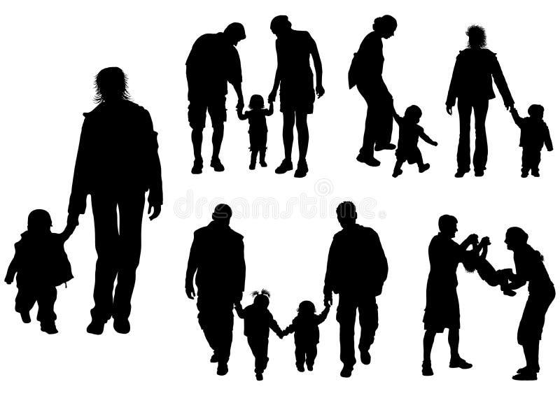 Siluette dei genitori con il bambino, vettore illustrazione di stock