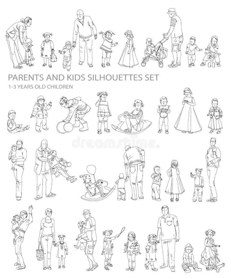 Siluette dei genitori e dei bambini, royalty illustrazione gratis