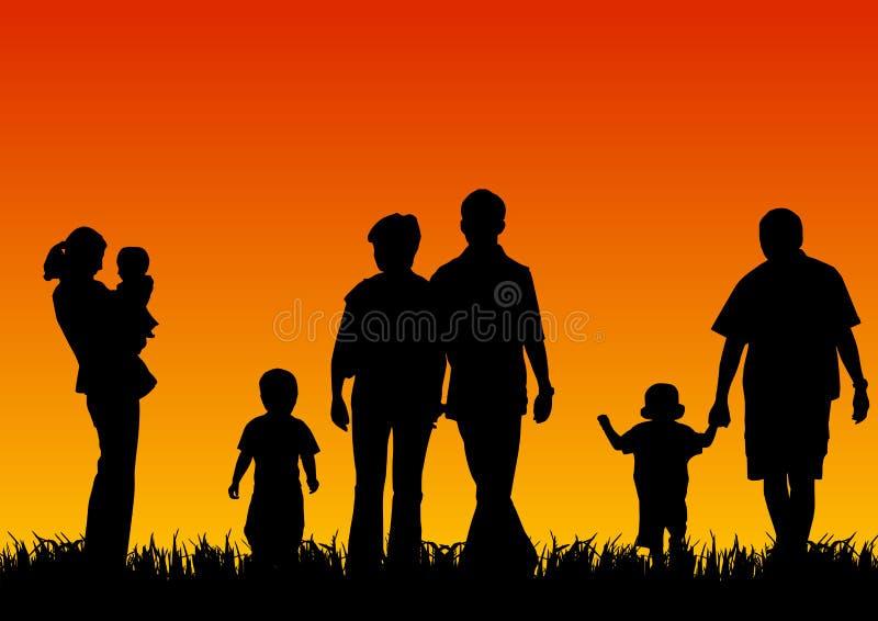 Siluette dei giovani con i bambini illustrazione vettoriale