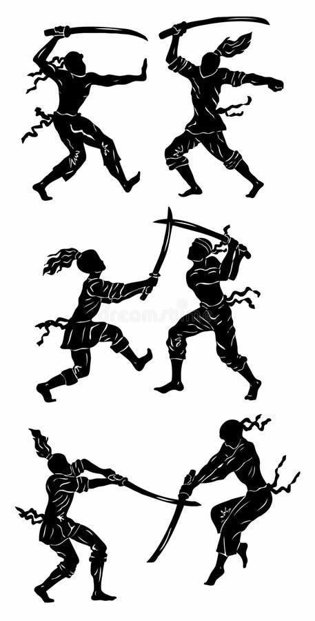 Siluette dei guerrieri royalty illustrazione gratis