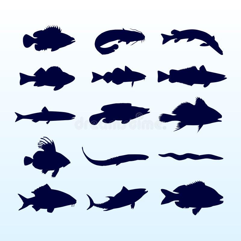 Siluette dei pesci illustrazione di stock
