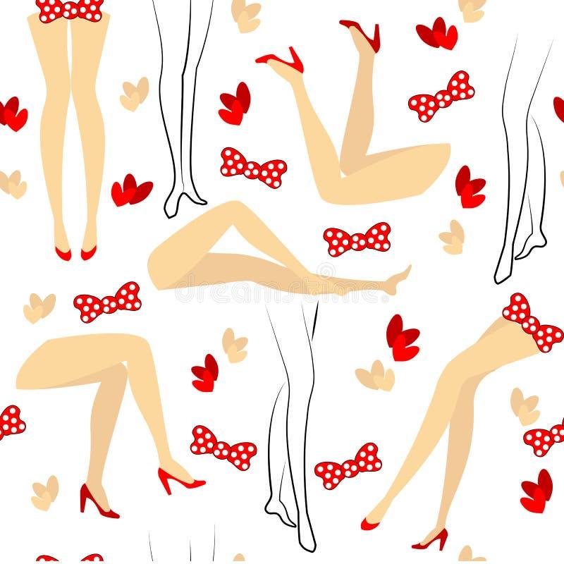 Siluette dei piedi femminili Reticolo senza giunte Adatto come imballaggio per i regali Crea un umore allegro Illustrazione di ve illustrazione di stock