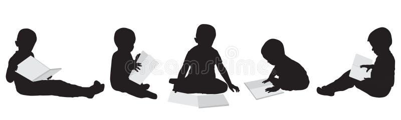 Siluette dei ragazzi della lettura insieme Illustrazione di vettore illustrazione di stock