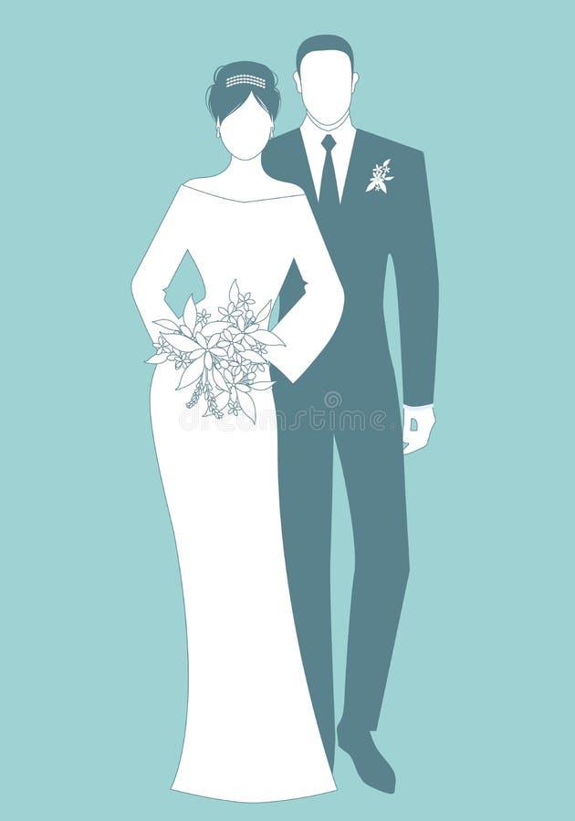 Siluette dei vestiti d'uso di nozze delle coppie delle persone appena sposate Stile classico Sposo elegante e bella sposa che ten illustrazione vettoriale