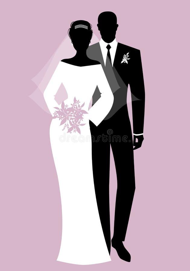 Siluette dei vestiti d'uso di nozze delle coppie delle persone appena sposate Stile classico Sposo elegante e bella sposa che ten royalty illustrazione gratis