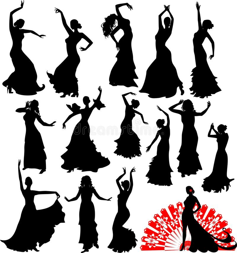 Siluette del ballerino illustrazione di stock