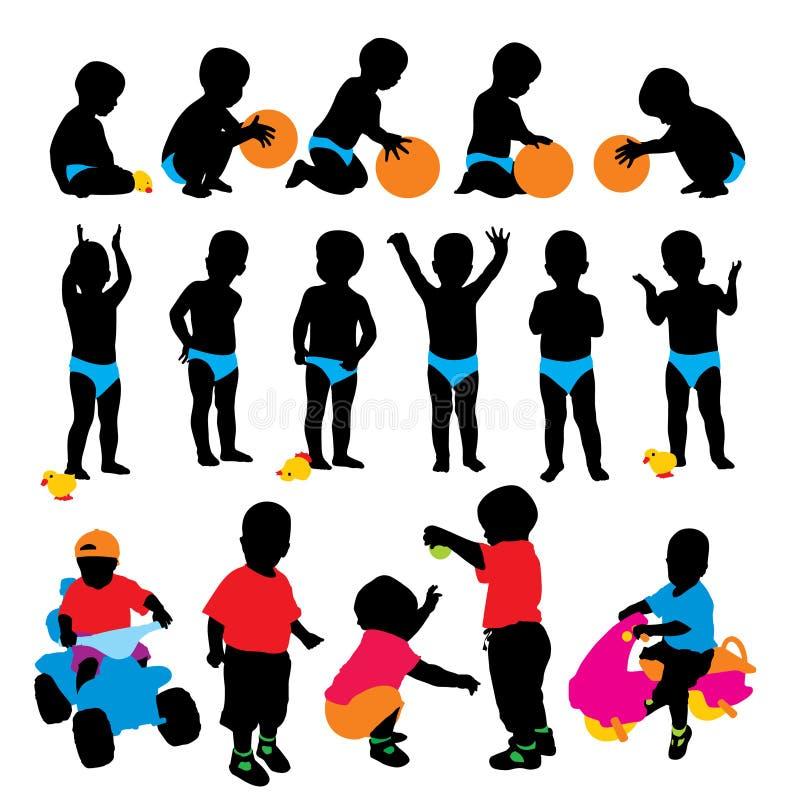 Siluette del bambino illustrazione di stock