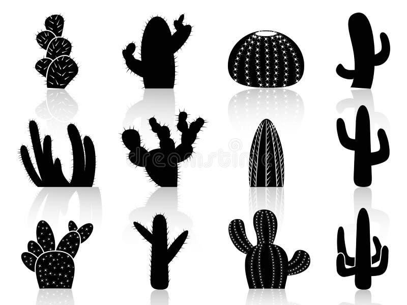 Siluette del cactus illustrazione di stock