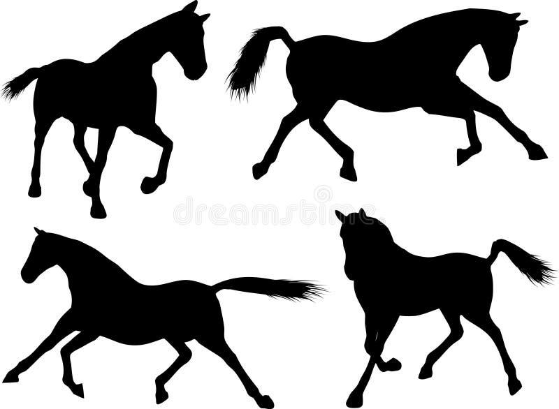 Siluette del cavallo illustrazione vettoriale