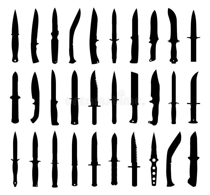 Siluette del coltello messe. fotografie stock libere da diritti
