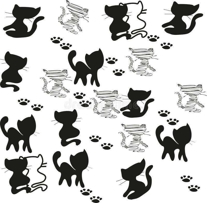 Siluette del gatto impostate immagine stock libera da diritti