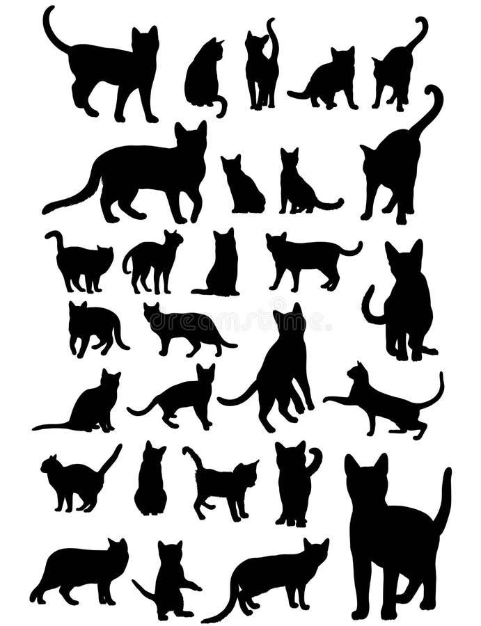 Siluette del gatto impostate illustrazione di stock