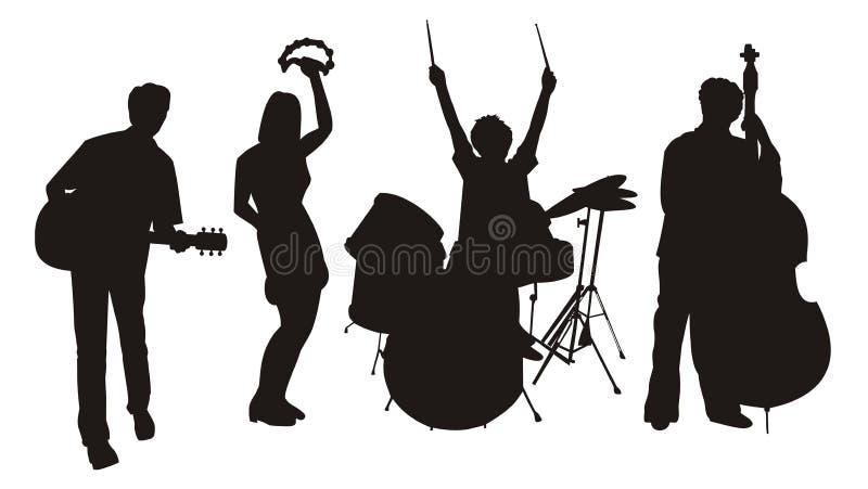 Siluette del musicista royalty illustrazione gratis