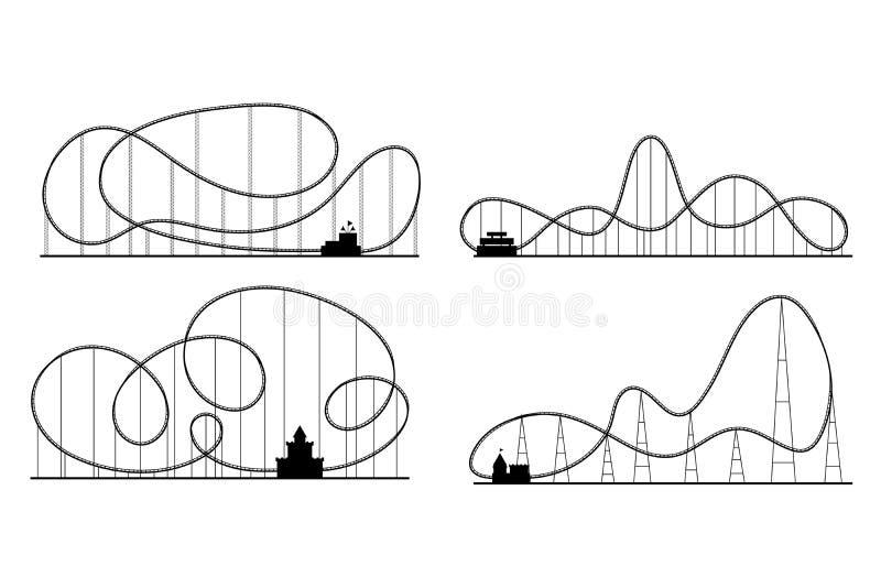 Siluette del nero delle montagne russe del parco di divertimenti messe Vettore illustrazione vettoriale