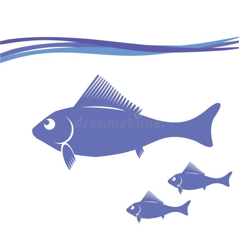 Siluette del pesce illustrazione di stock
