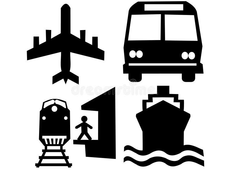 Siluette del trasporto illustrazione vettoriale