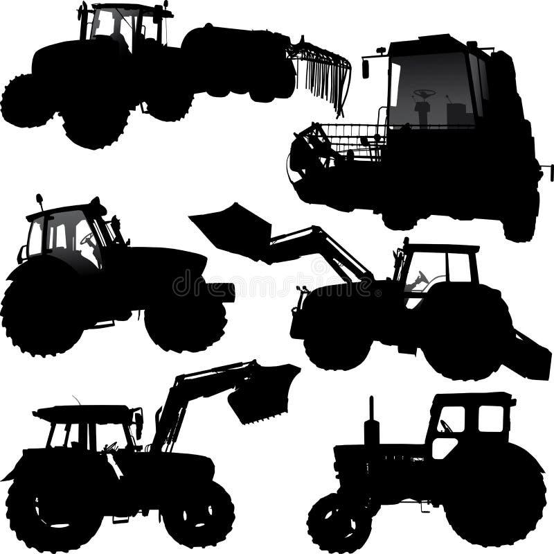 Siluette del trattore royalty illustrazione gratis