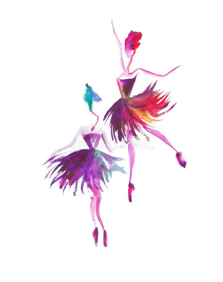 Siluette dell'acquerello delle ballerine Spruzzo luminoso ballo Prima Ballerina illustrazione di stock