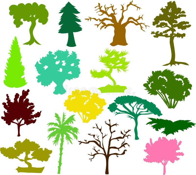 Siluette dell'albero illustrazione vettoriale