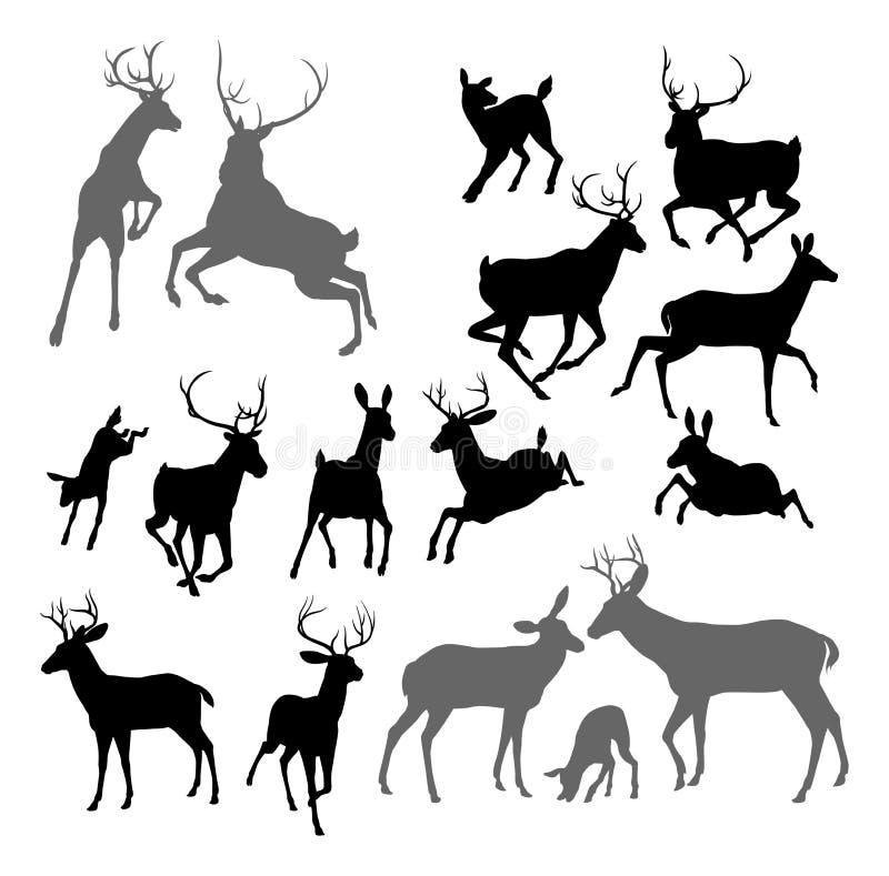 Siluette dell'animale dei cervi illustrazione di stock