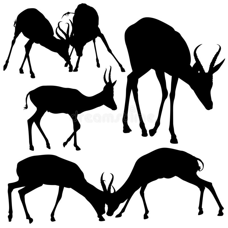 Siluette dell'antilope illustrazione di stock