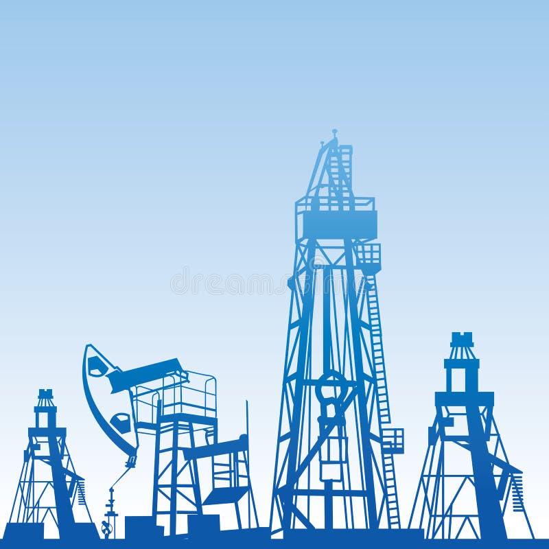Siluette dell'impianto offshore royalty illustrazione gratis