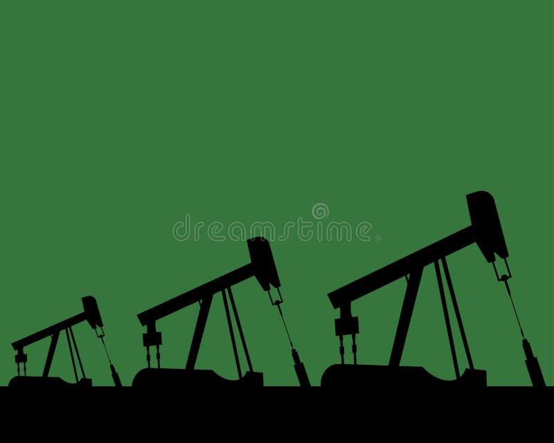 Siluette dell'impianto offshore e cielo colorato, illustrazione di vettore illustrazione di stock