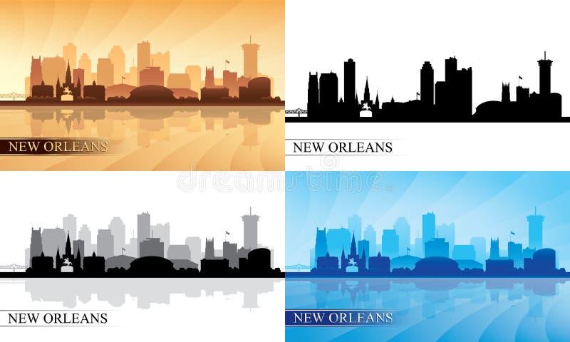 Siluette dell'orizzonte della città di New Orleans messe illustrazione di stock