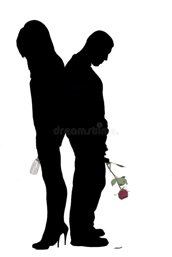 Siluette dell'uomo con di rosa e della donna con vetro illustrazione di stock