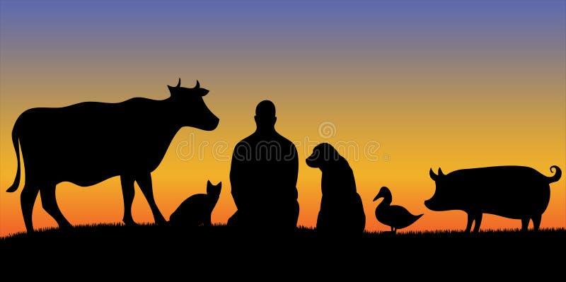 Siluette dell'uomo con il tramonto di molti animali immagini stock libere da diritti
