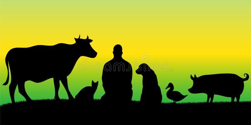 Siluette dell'uomo con molti animali con fondo verde e giallo fotografie stock libere da diritti