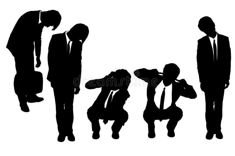 Siluette dell'uomo di affari che sembrano deprimenti royalty illustrazione gratis
