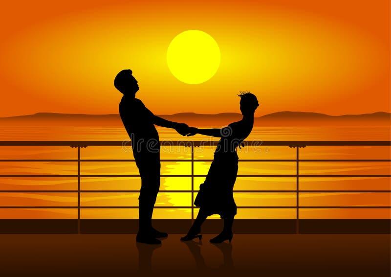 Siluette dell'uomo e della donna sulla piattaforma della nave illustrazione vettoriale