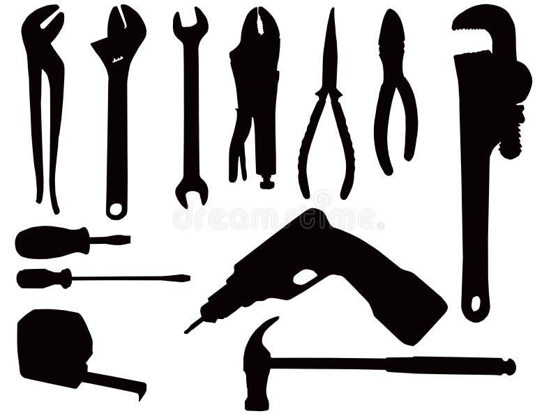 Siluette dell'utensile manuale illustrazione di stock