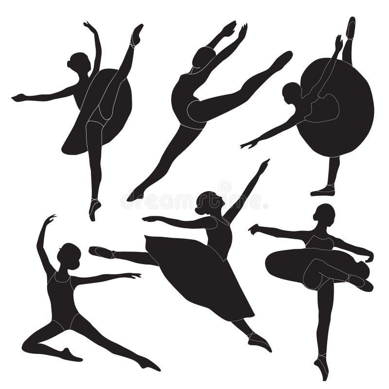 Siluette della ballerina fotografia stock